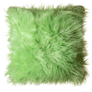 Lime Mongolian Faux Fur Pillow