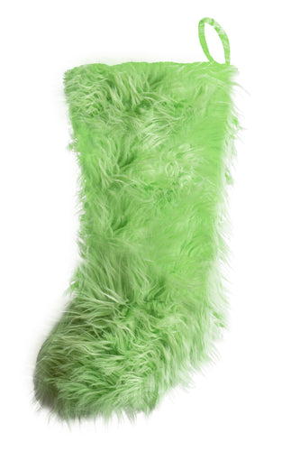 Lime Mongolian Faux Fur Stocking