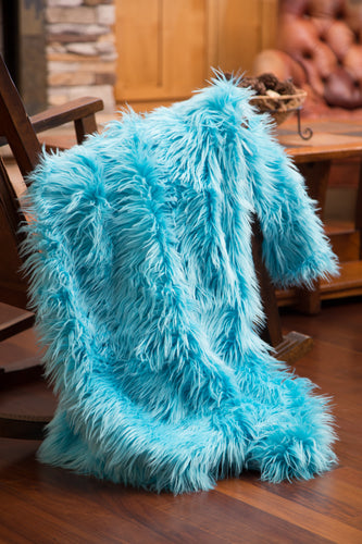 Turquoise Mongolian Faux Fur Throw