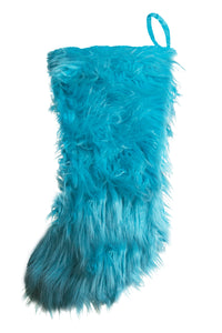Turquoise Mongolian Faux Fur Stocking