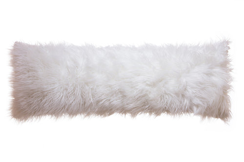 White Mongolian Faux Fur Body Pillow