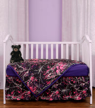 Load image into Gallery viewer, Muddy Girl 3-Piece Purple Camo Crib Set
