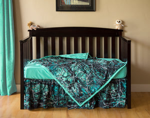 Serenity Blue Camo Crib Set