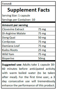 supplement facts Femm8