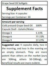 Load image into Gallery viewer, supplement facts Grape Seed Oil
