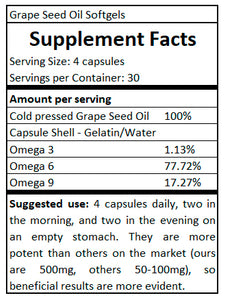 supplement facts Grape Seed Oil