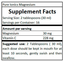Load image into Gallery viewer, supplement facts Pure Ionics Magnesium 480 ml