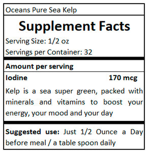 supplement facts Ocean Pure Sea Kelp