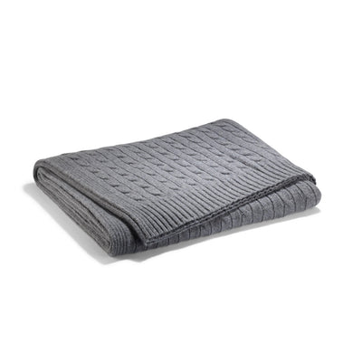 Plaid / Couverture Cable Cachemire torsadé Gris