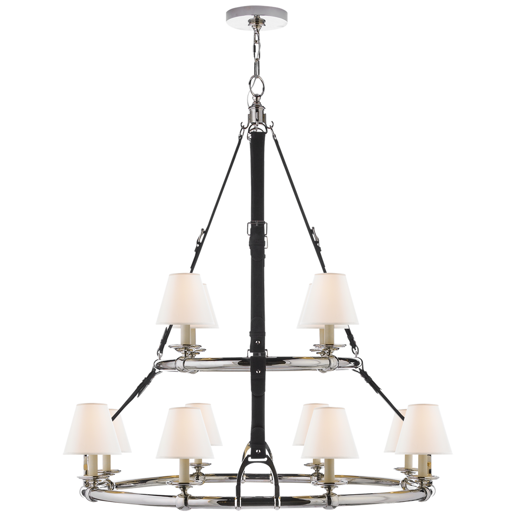 Chandelier Double Westbury Nickel - Chocolat