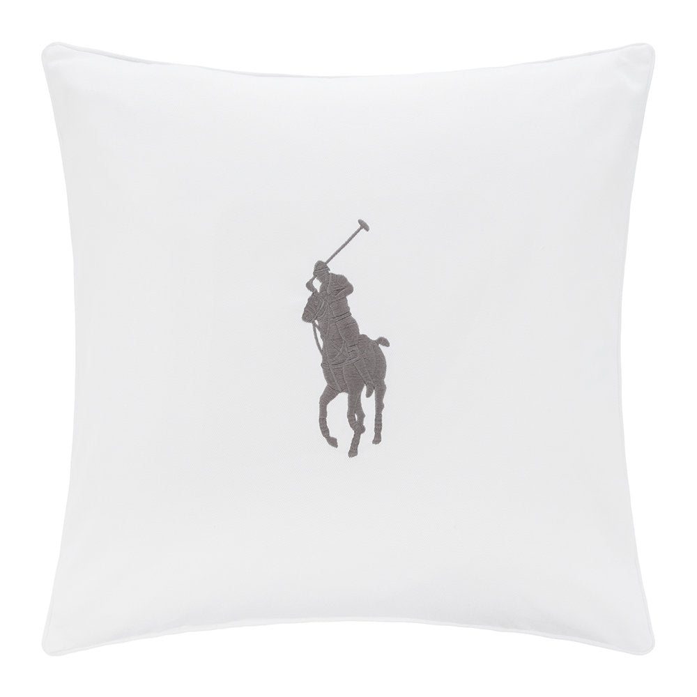 Coussin Blanc Pony Gris Galet