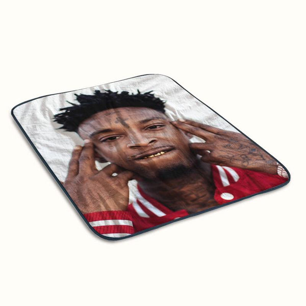 21 Savage Face Fleece Blanket