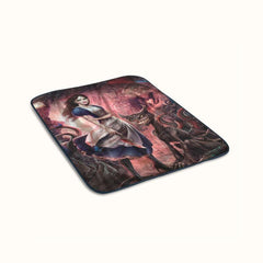 Alice in Wonderland and Evil Cat Fleece Blanket