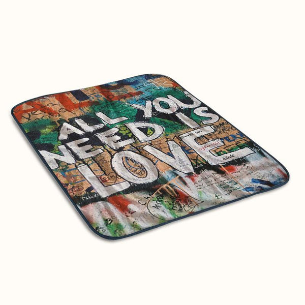 Beatles Graffiti All You Need is Love Fleece Blanket