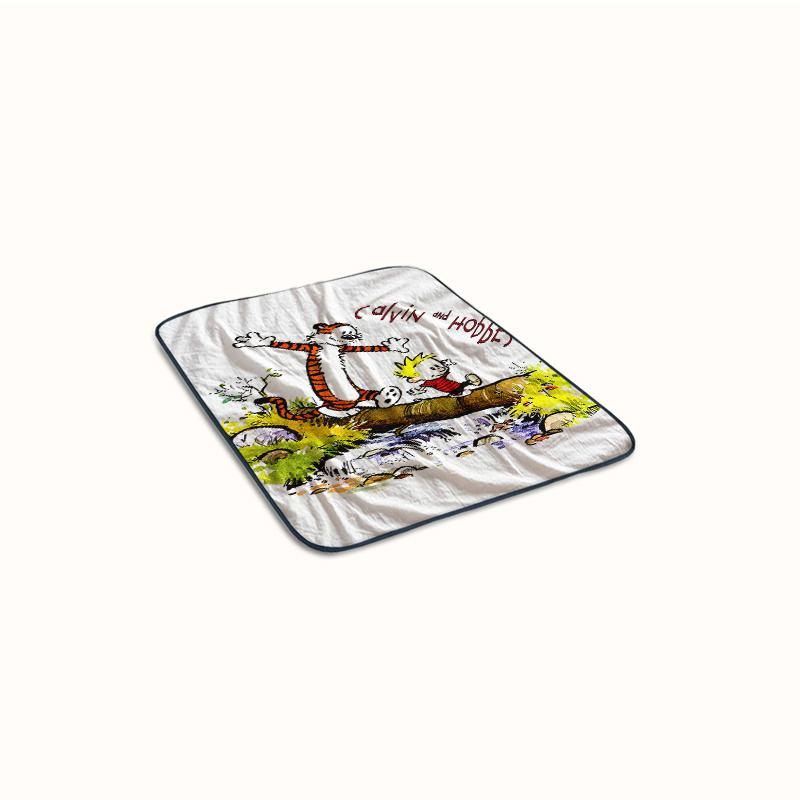 Calvil and Hobbes Walking on Log Fleece Blanket