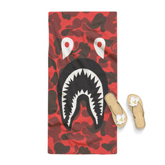 Camo Red Shark Bape Towel