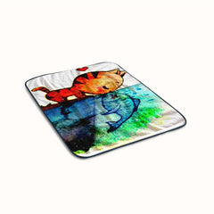 Cat kiss Fish Funny Fleece Blanket