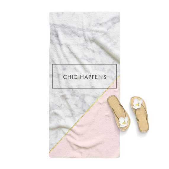 Chic Happens Rose Gold Marble Towel