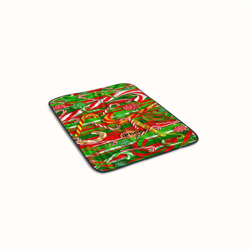 Christmas Red Candy Cane Fleece Blanket