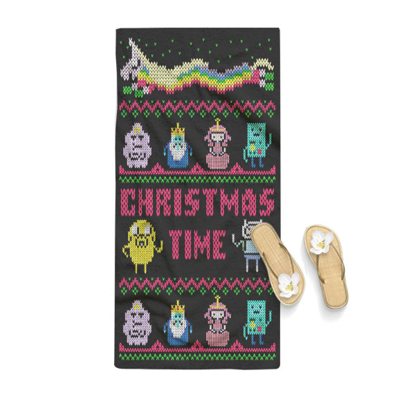 Christmas Time Adventure Time Cartoon Funny Towel