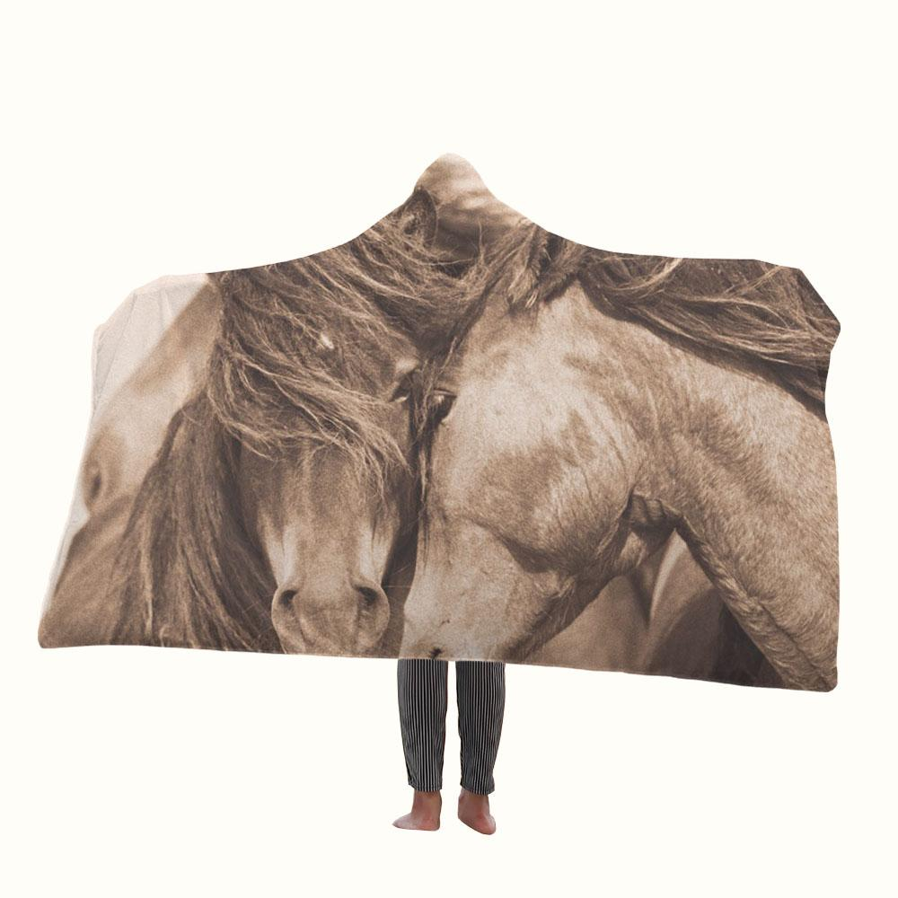 Couple Wild Horses Hooded Blanket