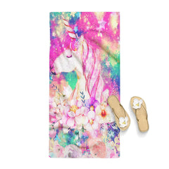 Cute Unicorn Flower Stars Galaxy Towel