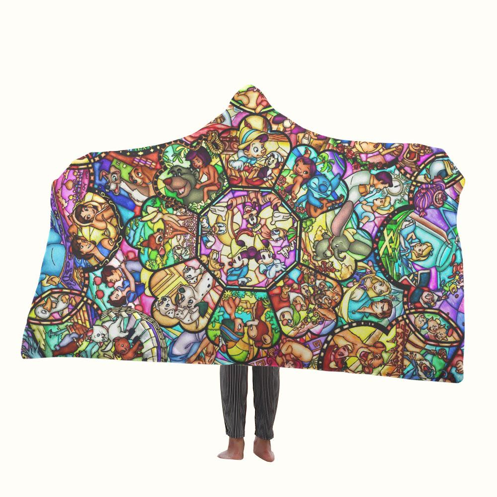 Disney Characters Stained Glass Hooded Blanket