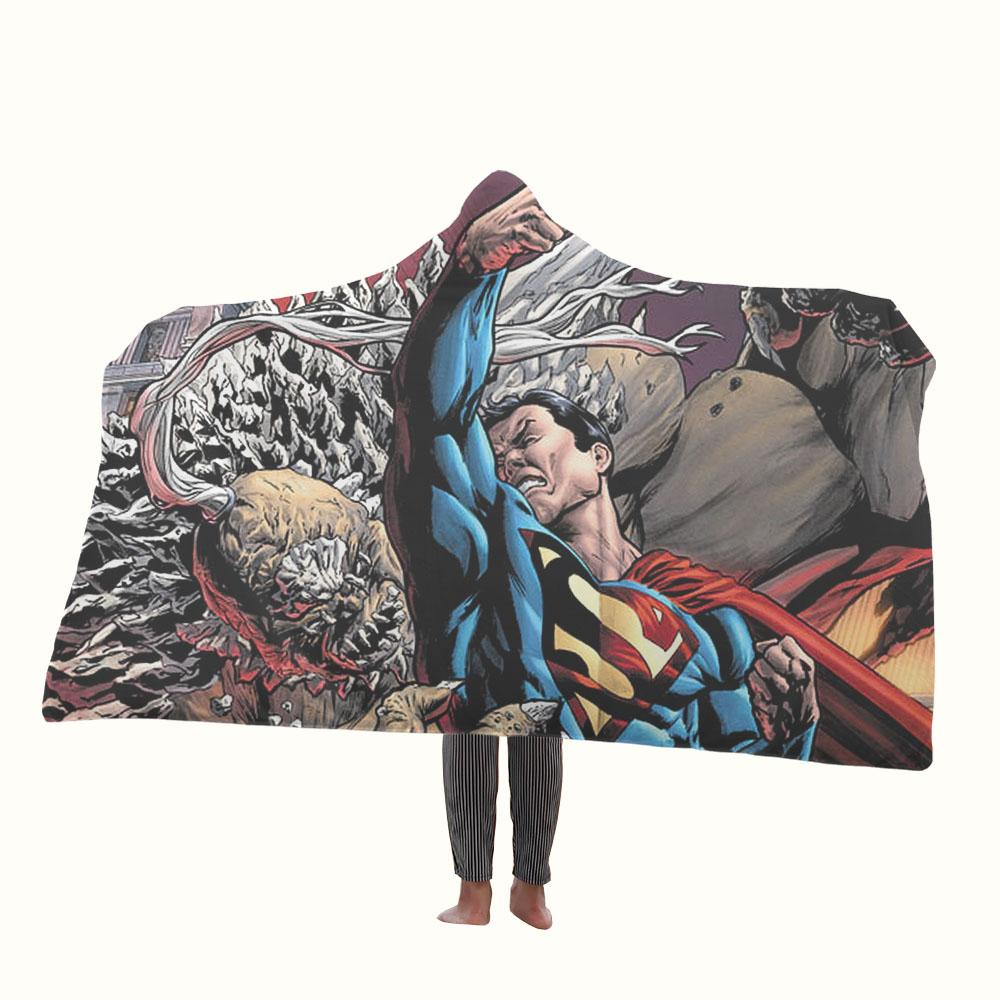 Fighting Superman Hooded Blanket
