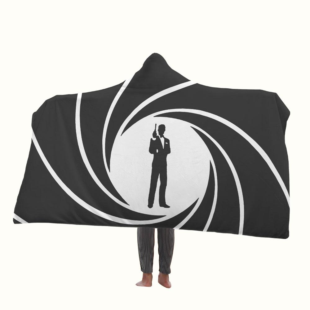 James Bond Logo Hooded Blanket