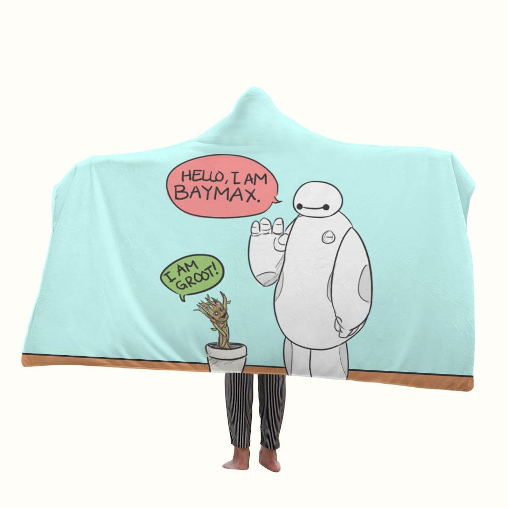 Marvel Character Baymax and Groot Hooded Blanket