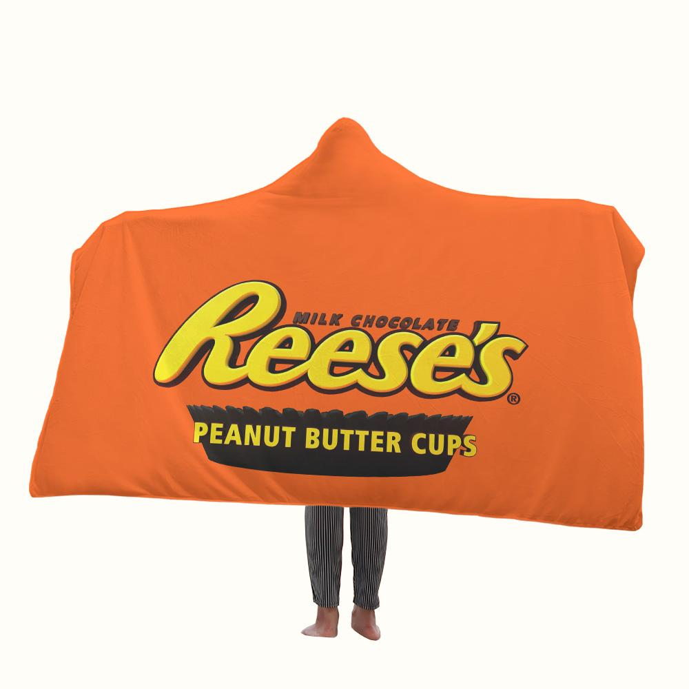 Reeses Peanut Butter Cup Logo Hooded Blanket