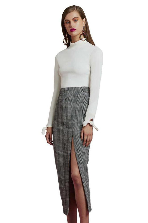 Check Sharp Split Pencil Skirt