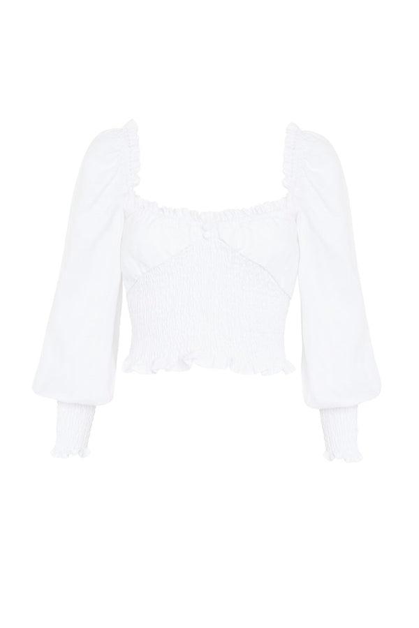 Bel Rose top, white