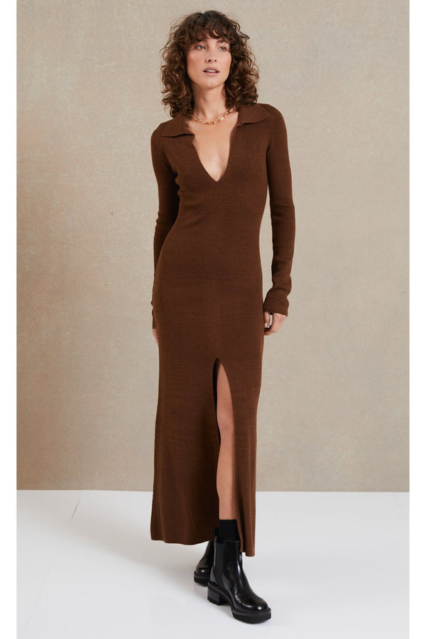 Freya long sleeve knit maxi dress, chocolate