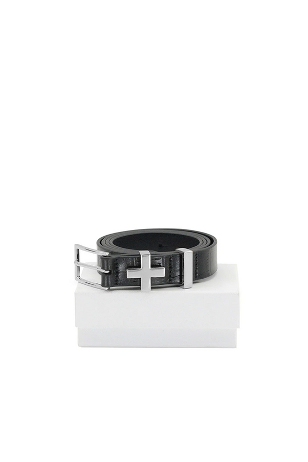 The Brooklyn croc belt, silver