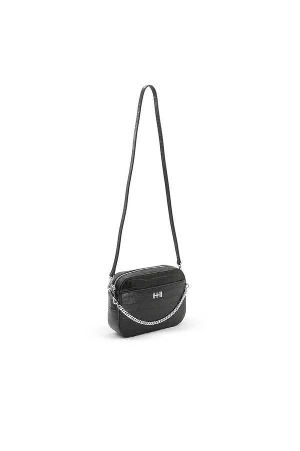 The mini rodriguez croc bag, silver