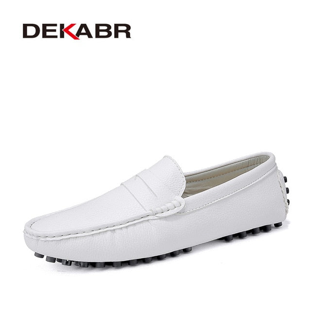 Men Casual Shoes Men Shoes Genuine Leather Men Loafers Moccasins Slip On Mens Flats Male Driving Shoes,03 Dark Blue,15