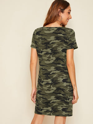 Ladies V-cut Collar Camo Print Top