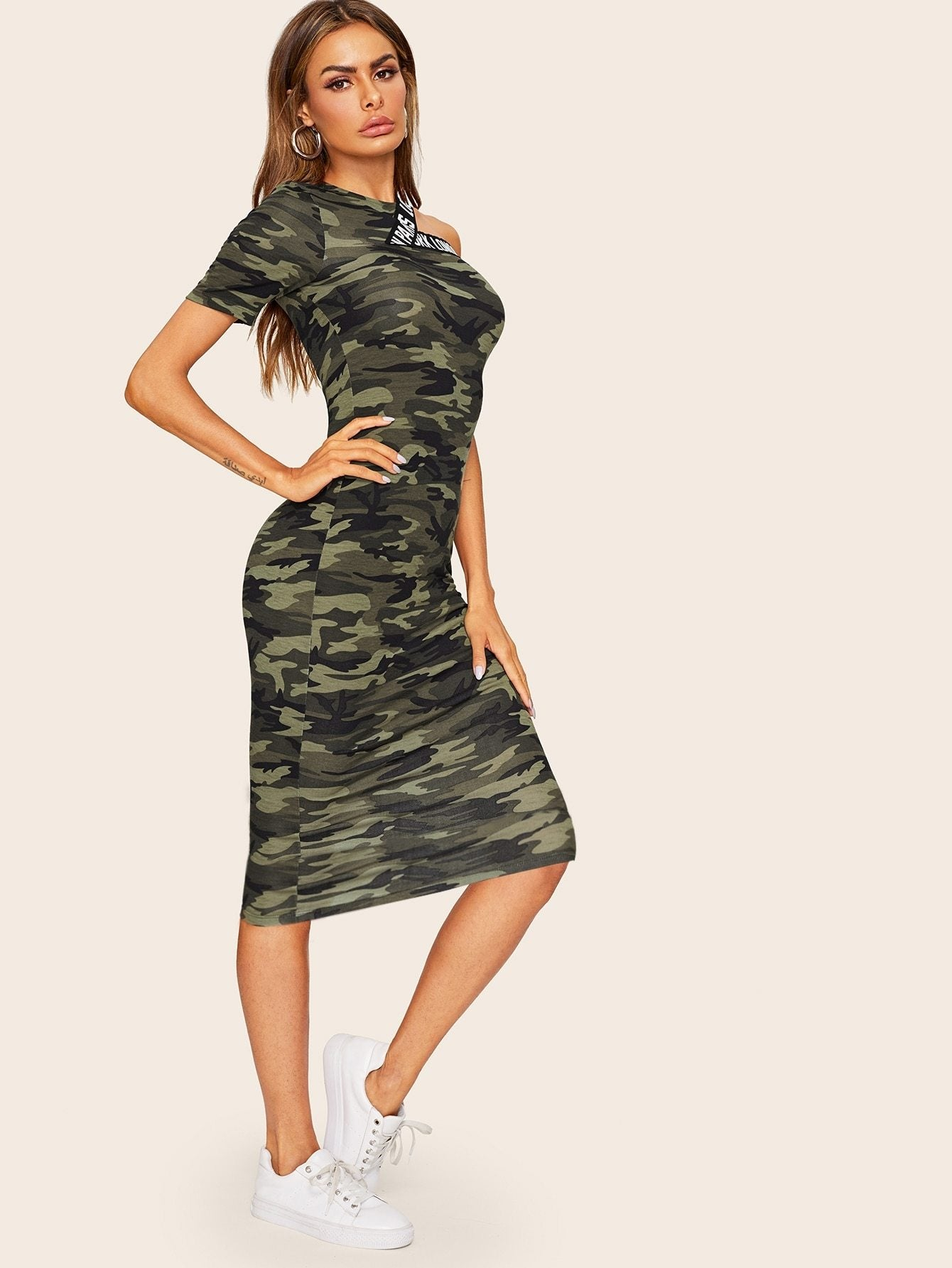 Asymmetrical Shoulder Letter Tape Camo Dress - StyleCamo