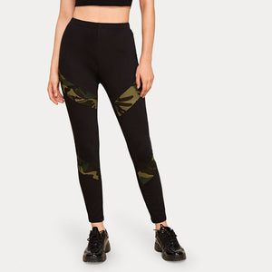Ladies Elastic Waist Camo Spliced Leggings