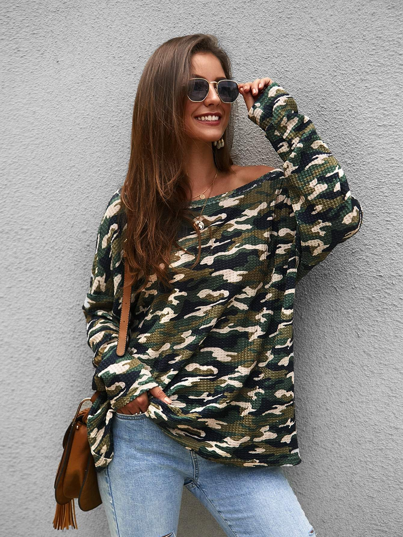 Ladies Camo Print Asymmetrical Neck Tee