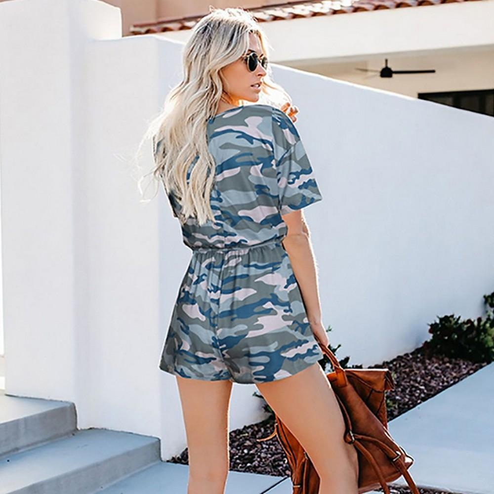 Ladies Yellow Light Blue Army Green Romper, Camo / Camouflage