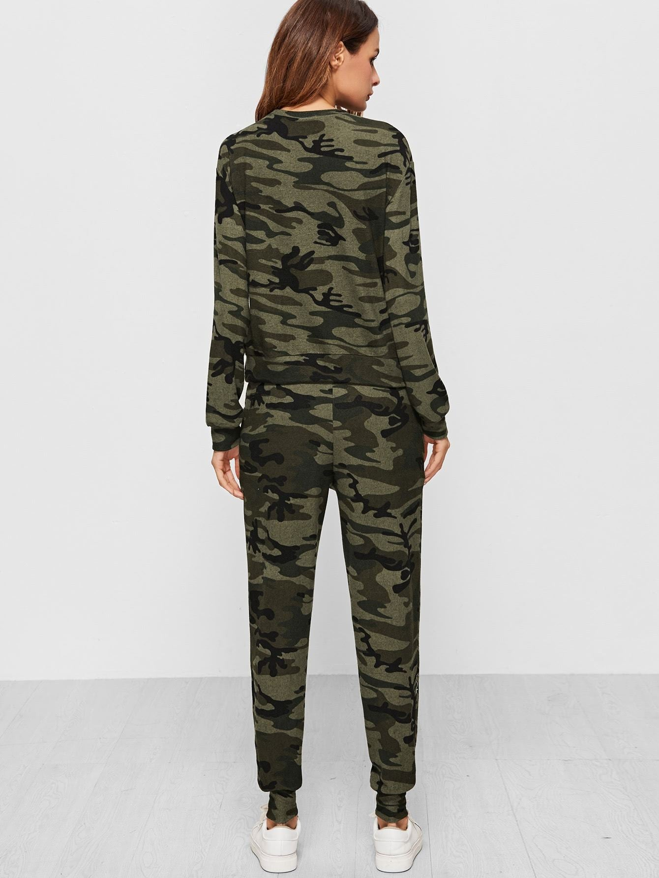 Ladies Camo Print Sweatsuit