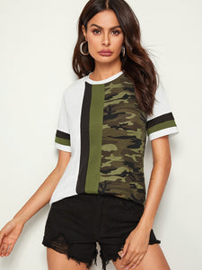 Cut-and-Sew Camo Panel Top - StyleCamo
