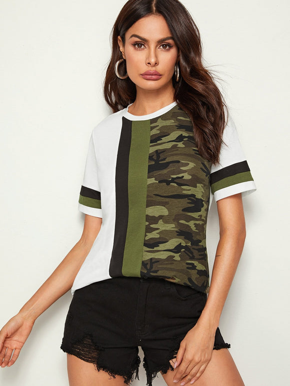 Cut-and-Sew Camo Panel Top, [product_type], StyleCamo, StyleCamo