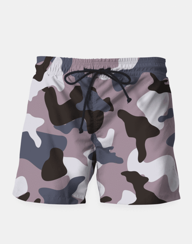 Men's Gray Army Camouflage Pattern Swim Shorts