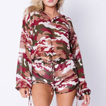 Ladies Camo Army Print Hoodie Set
