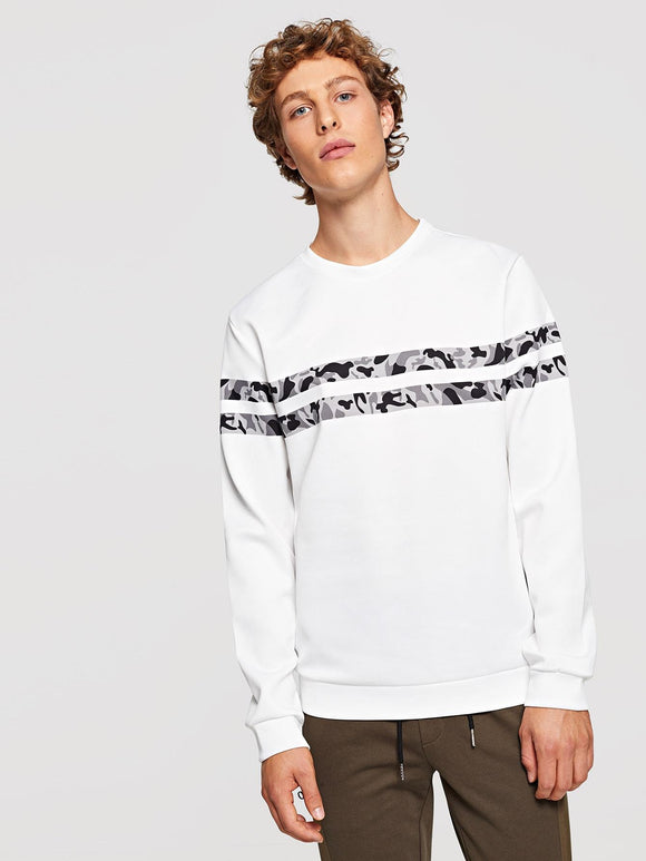 Men Camo Striped Sweatshirt - StyleCamo