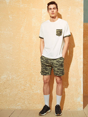 Men's Pocket Patched Tee and Camo Shorts Set