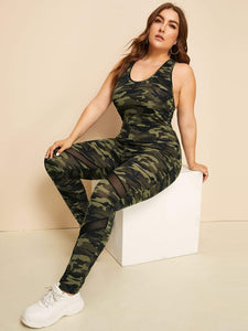 Ladies Plus Mesh Insert Crisscross Back Camo Jumpsuit